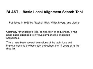 BLAST -  Basic Local Alignment Search Tool