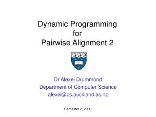 Dynamic Programming for  Pairwise Alignment 2