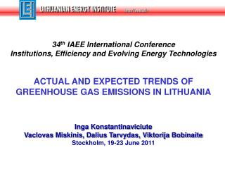 34 th  IAEE International Conference  Institutions, Efficiency and Evolving Energy Technologies