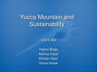 Yucca Mountain and Sustainability