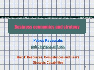 Business economics and strategy