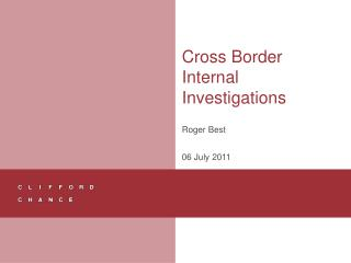 Cross Border Internal Investigations