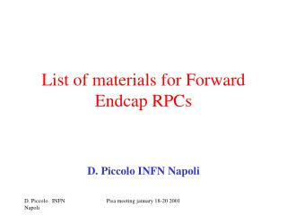 List of materials for Forward Endcap RPCs