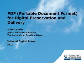 PDF (Portable Document Format) for Digital Preservation and Delivery