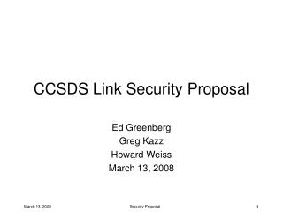 CCSDS Link Security Proposal