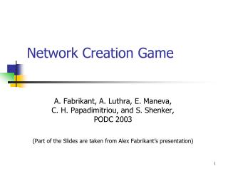 Network Creation Game