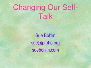 Changing Our Self-Talk