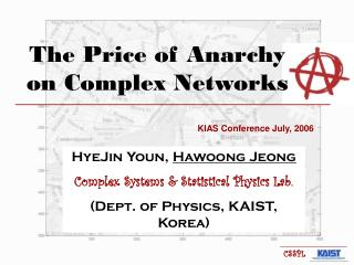 The Price of Anarchy on Complex Networks