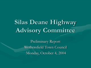 Silas Deane Highway Advisory Committee