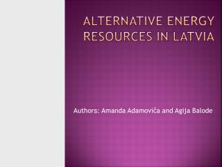 Alternative  energy resources in Latvia