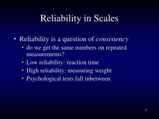 Reliability in Scales