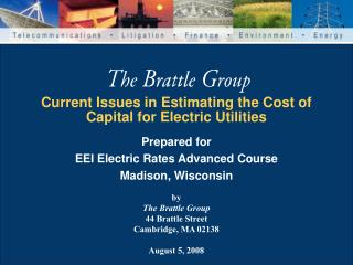 Current Issues in Estimating the Cost of Capital for Electric Utilities