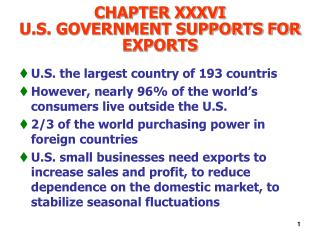 CHAPTER XXXVI U.S. GOVERNMENT SUPPORTS FOR EXPORTS