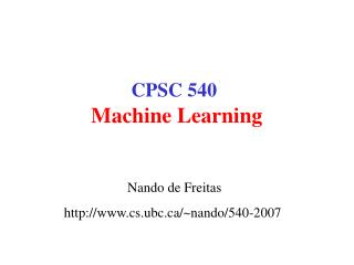 CPSC 540 Machine Learning