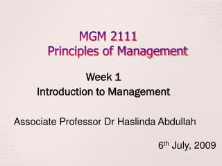 MGM 2111 Principles of Management