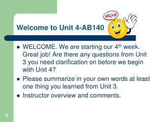 Welcome to Unit 4-AB140