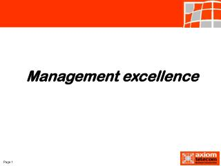 Management excellence