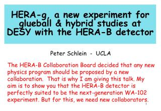 HERA-g, a new experiment for glueball & hybrid studies at DESY with the HERA-B detector
