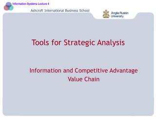 Tools for Strategic Analysis