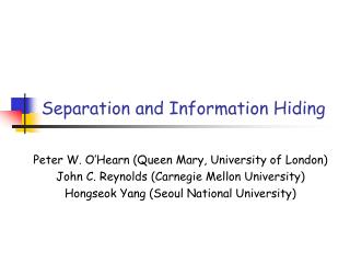 Separation and Information Hiding