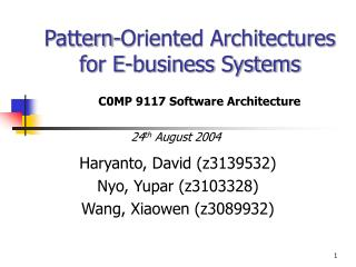 Pattern-Oriented Architectures for E-business Systems