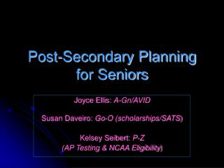 Post-Secondary Planning for Seniors