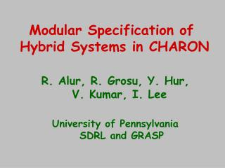 Modular Specification of  Hybrid Systems in CHARON
