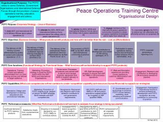 Peace Operations Training Centre Organisational Design