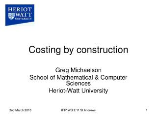 Costing by construction