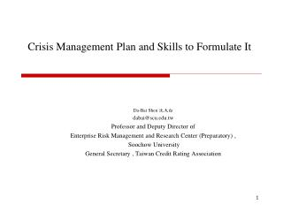 Crisis Management Plan and Skills to Formulate It