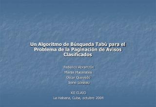 Un Algoritmo de Búsqueda Tabú para el Problema de la Paginación de Avisos Clasificados