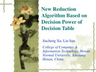 New Reduction Algorithm Based on Decision Power of Decision Table