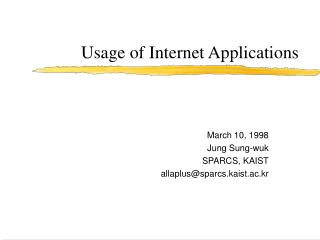 Usage of Internet Applications