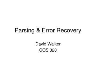 Parsing & Error Recovery