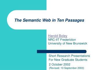The Semantic Web in Ten Passages