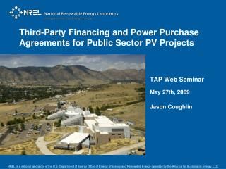 Third-Party Financing and Power Purchase Agreements for Public Sector PV Projects