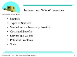 Internet and WWW  Services