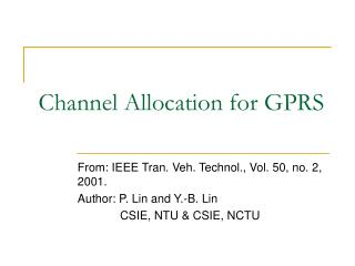 Channel Allocation for GPRS
