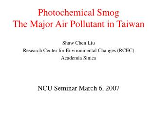 Photochemical Smog The Major Air Pollutant in Taiwan