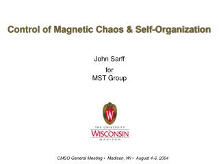 Control of Magnetic Chaos & Self-Organization