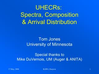 UHECRs:  Spectra, Composition & Arrival Distribution