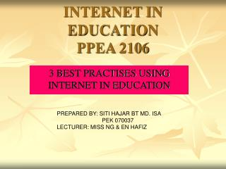 INTERNET IN EDUCATION PPEA 2106
