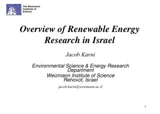 Overview of Renewable Energy Research in Israel