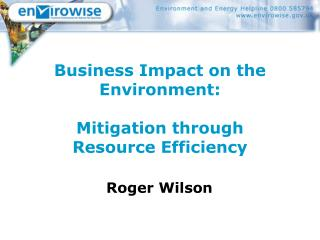 Business Impact on the Environment: Mitigation through Resource Efficiency