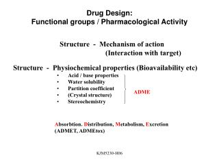 Drug Design: Functional groups / Pharmacological Activity