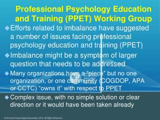 Professional Psychology Education and Training (PPET) Working Group