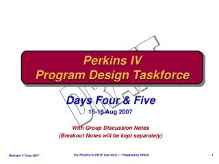 Perkins IV Program Design Taskforce