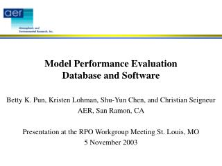 Model Performance Evaluation Database and Software