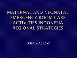 Maternal and Neonatal Emergency Room Care Activities Indonesia  REGIONAL STRATEGIES