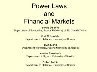 Power Laws and Financial Markets